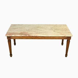 Table Basse Style Louis XVI avec Plateau en Marbre