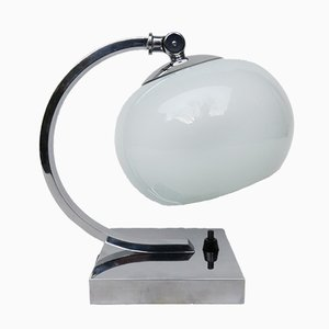 Small Vintage Art Deco Chrome-Plated Table Lamp with a White Glass Diffuser