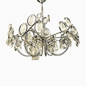 Italian Glass & Chrome-Framed Chandelier by Gaetano Sciolari for Palwa, 1970s