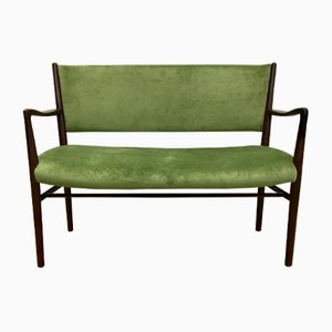 Mid-Century Two-Seater Bench in Green Velvet, 1950s