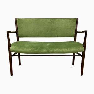 Mid-Century Two-Seater Bench in Green Velvet, 1950s
