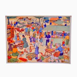 Doppelseitige Mid-Century Schulwandkarte von Rossignol