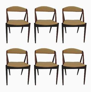 Modell 31 Teak Esszimmerstühle von Kai Kristiansen für Schou Andersen, 1950er, 6er Set