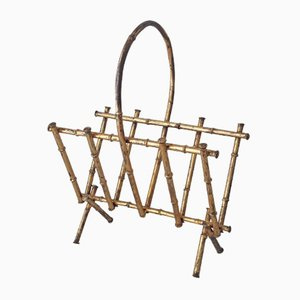Magazine Rack in Gilt Metal Faux Bamboo, 1950s