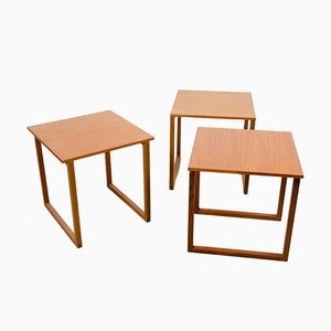 Tables Gigognes Cube Vintage en Teck par Kai Kristiansen pour Vildbjerg Møbelfabrik, Set de 3