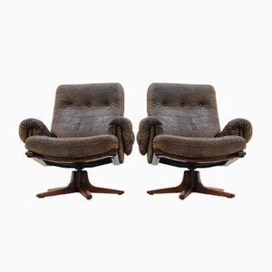 Scandinavian Leather Armchairs, 1970s, Set of 2