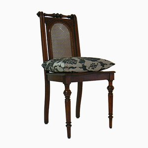 Antique Art Nouveau Basketwork Chair with Pillow