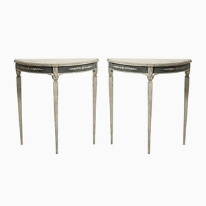 19th-Century Swedish Demi-Lune Tables, Set of 2