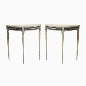 Tables Demi-Lune, Suède, 19ème Siècle, Set of 2