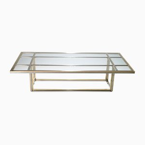 Large Chrome and Brass Coffee Table by Romeo Rega for Metalarte, 1970s