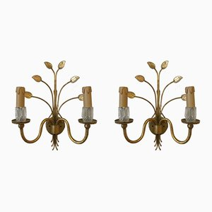 Gilded Metal & Glass Leaf Wall Lights from Banci Firenze, 1970s, Set of 2