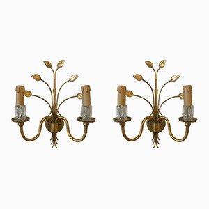 Vergoldete Metall & Glas Wandlampen von Banci Firenze, 1970er, 2er Set