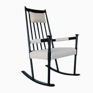 Rocking Chair Scandinave Peinte Noire, 1960s
