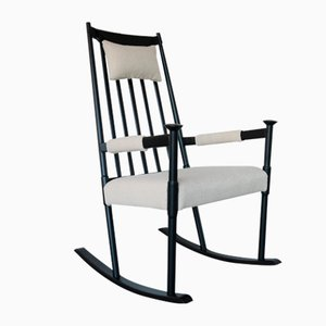 Scandinavian Black Painted Rocking Chair, 1960s