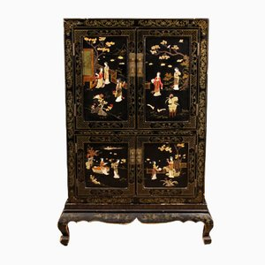 French Cabinet in Lacquered and Painted Chinoiserie Wood, 1950s