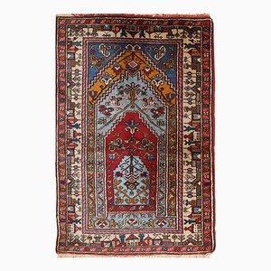 Alfombra de oración Konya turca vintage hecha a mano, años 50