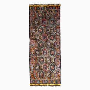 Alfombra Kilim tunecina vintage hecha a mano de tejido plano, años 30