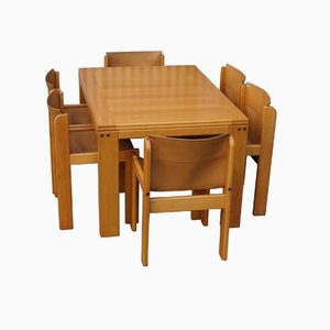 Ibisco Dining Set with 6 Leather Chairs and Extendable Table, 1970s