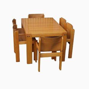 Juego de comedor con 6 sillas de cuero y mesa extensible de Ibisco, años 70