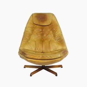 Fauteuil Vintage en Cuir avec Ottomane par Madsen & Schubell pour Bovenkamp