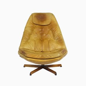 Vintage Leather Lounge Chair with Ottoman by Madsen & Schubell for Bovenkamp