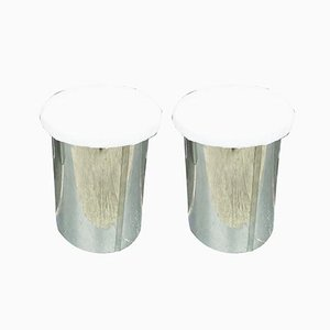 Italian Stainless Steel Stools, 1970s, Set of 2