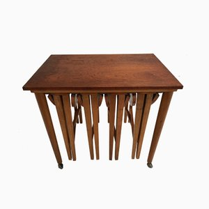 Danish Vintage Teak Drop Leaf Nesting Tables, 1960s