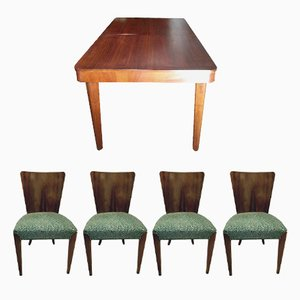 Art Deco H 214 Dining Table with 4 Chairs by Jindrich Halabala, 1930s