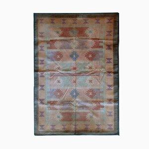 Kilim Dhurrie indio vintage hecho a mano, años 50