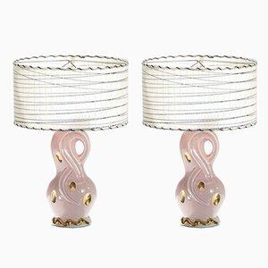 Lámparas de mesa de noche de cerámica, años 60. Juego de 2