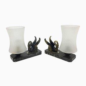 Lampade da comodino in marmo di Carrara, ottone e vetro opalino, anni '30, set di 2