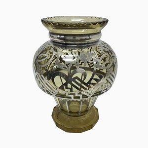 Jarrón Art Déco de plata esterlina y vidrio, años 30