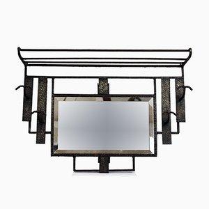 Perchero estilo Art Déco vintage de hierro forjado con espejo biselado