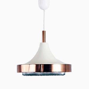Lampada a sospensione vintage in metallo, rame e vetro