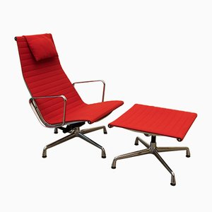 Mid-Century EA 124 Aluminium Swivel Chair with Ottoman by Charles & Ray Eames for Vitra, 1960s