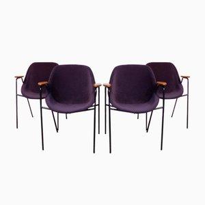 Französische Mid-Century Esszimmerstühle von Geneviève Dangles für Burov, 1950er, 4er Set