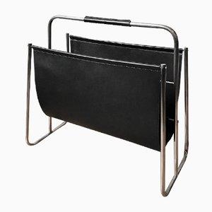 Revistero grande de cuero negro y latón niquelado de Carl Auböck, años 50