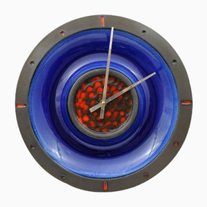 Fat Lava Style Ceramic Clock from Junghans and Kingo Keramik, 1960s