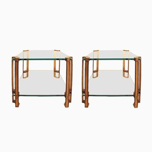 Vintage T24D Brass Side Tables by Peter Ghyczy, 1980s, Set of 2