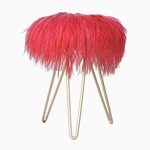 Vintage Pink Lambswool Stool on Tripod Legs
