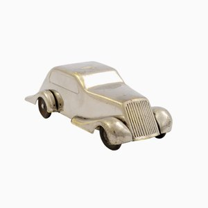 Art Deco Nickel Plated Car-Shaped Piggy Bank from Kovoprace JTB, 1930s