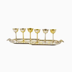 Bicchierini da vodka con vassoio di Sandrik, anni '30, set di 6