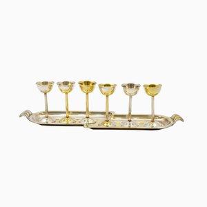 Wodka Gläser mit Tablett von Sandrik, 1930er, 6er Set