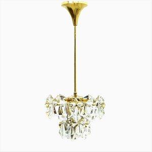 Lámpara de araña de cristal dorado, años 60