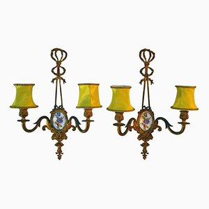 Italienische Mid-Century Wandlampen, 2er Set