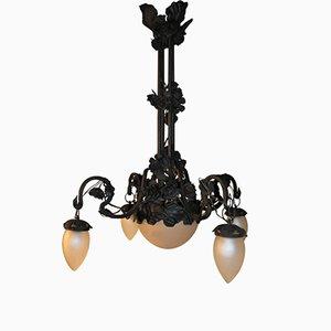 Lampadario Art Nouveau in ferro di Carlo Rizzarda, anni '10