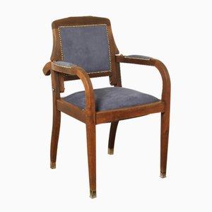 Antiker Eichenholz & Wildleder Barbiers Stuhl