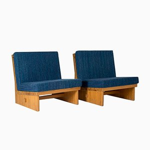 Schwedische Sessel aus Kiefernholz, 1960er, 2er Set