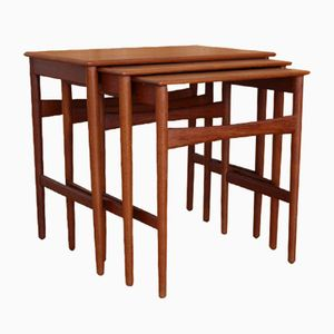 Teak Model AT-40 Nesting Tables by Hans Wegner for Andreas Tuck, 1950s