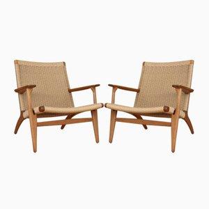 Eichenholz Modell CH25 Sessel von Hans Wegner für Carl Hansen and Son, 1950er, 2er Set